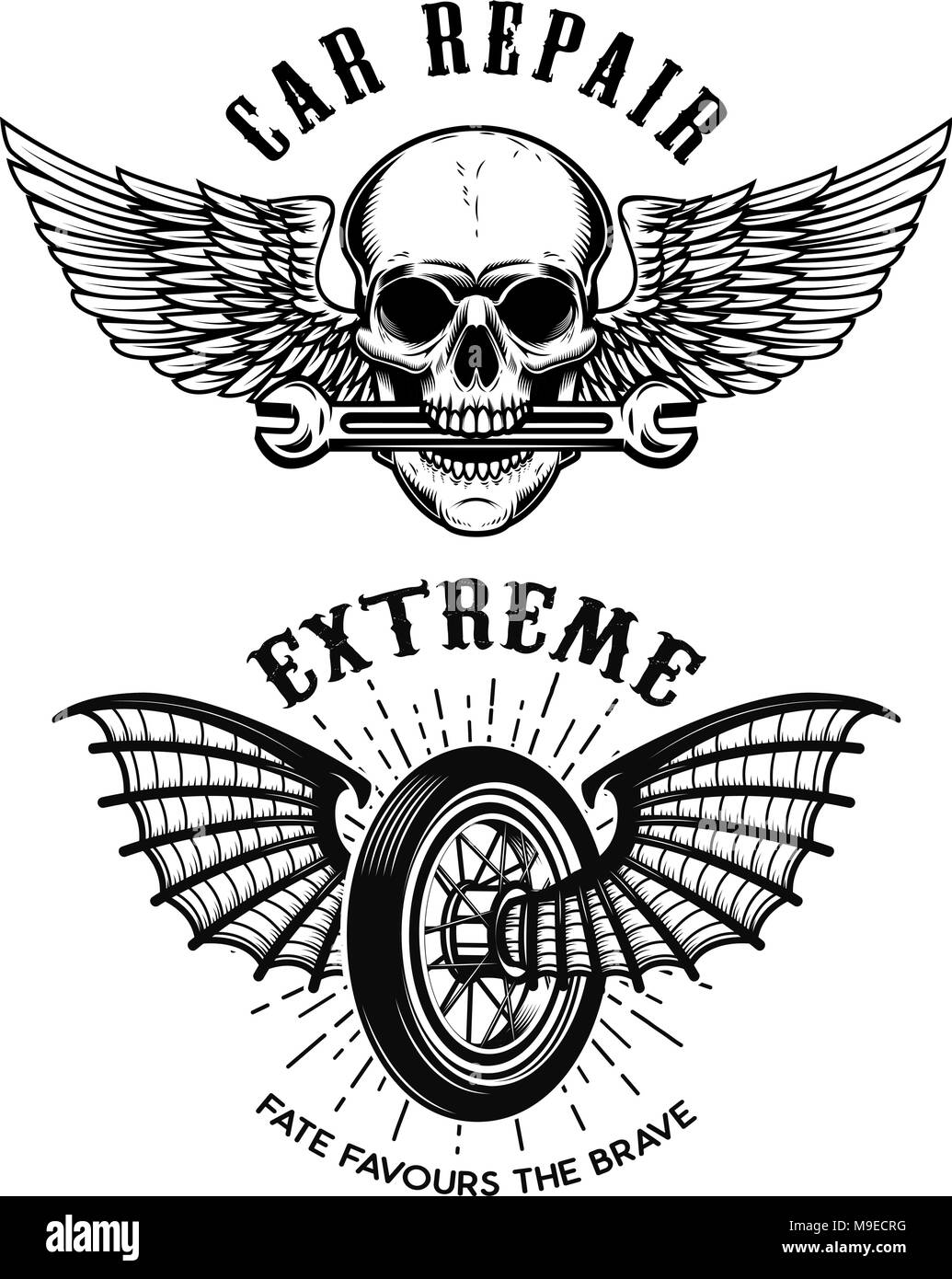 Car Repair Emblems Wheel With Wings Skull With Wings And Wrench