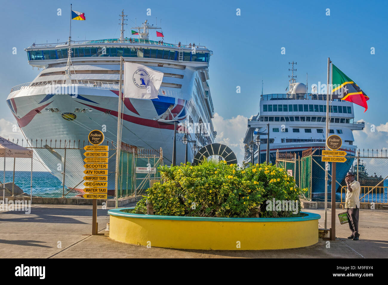 ships in the port of zante basseterre st kitts west indies stock