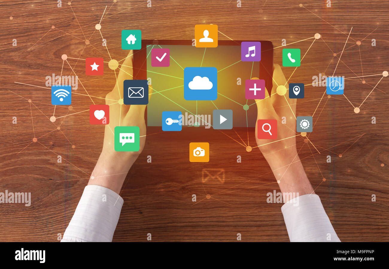 Hand Touching Multitask Tablet With Cloud Wifi Message Social Media