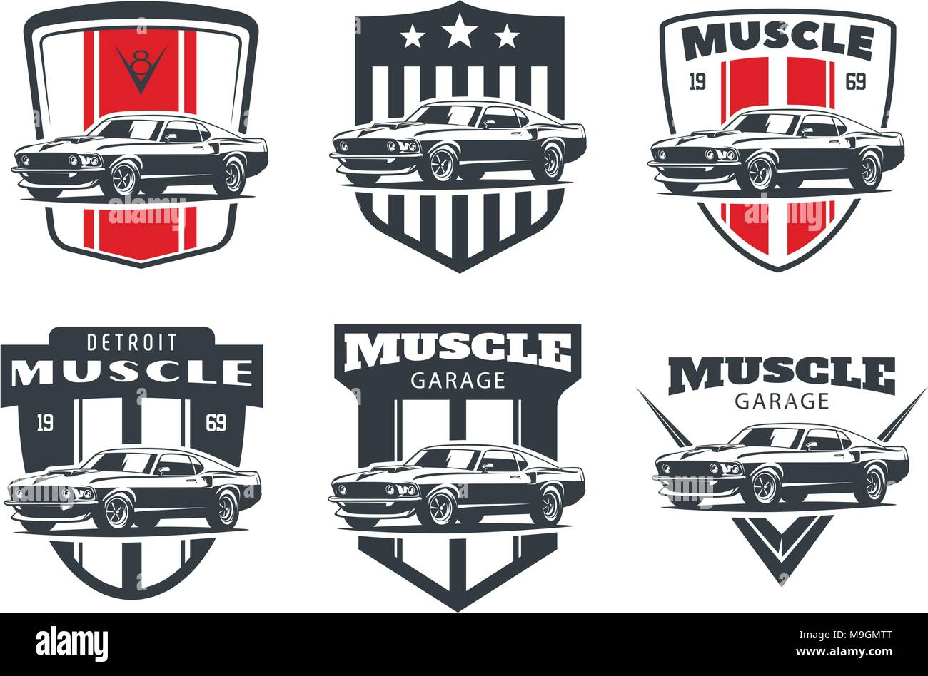 Set Of Classic Muscle Car Logo Emblems And Badges Isolated On White