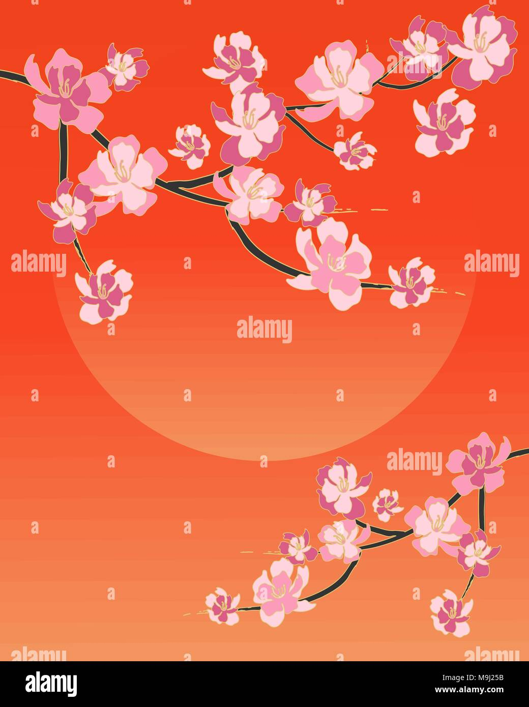 An Illustration Of A Simple Chinese Blossom Design With Pink Flowers