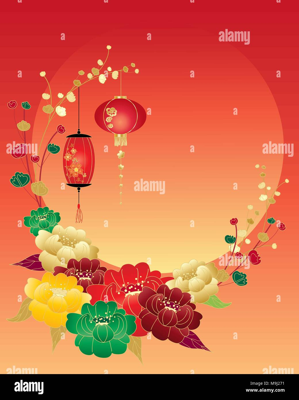 An illustration of a chinese new year greeting card with red green an illustration of a chinese new year greeting card with red green yellow and gold peony flowers and lanterns surrounding a big setting sun and space m4hsunfo