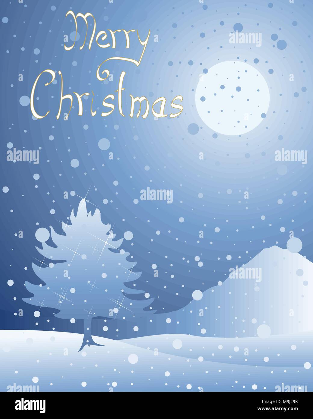An illustration of a night time snowy christmas background in an illustration of a night time snowy christmas background in greeting card format with festive fir tree and the words merry christmas in italics m4hsunfo