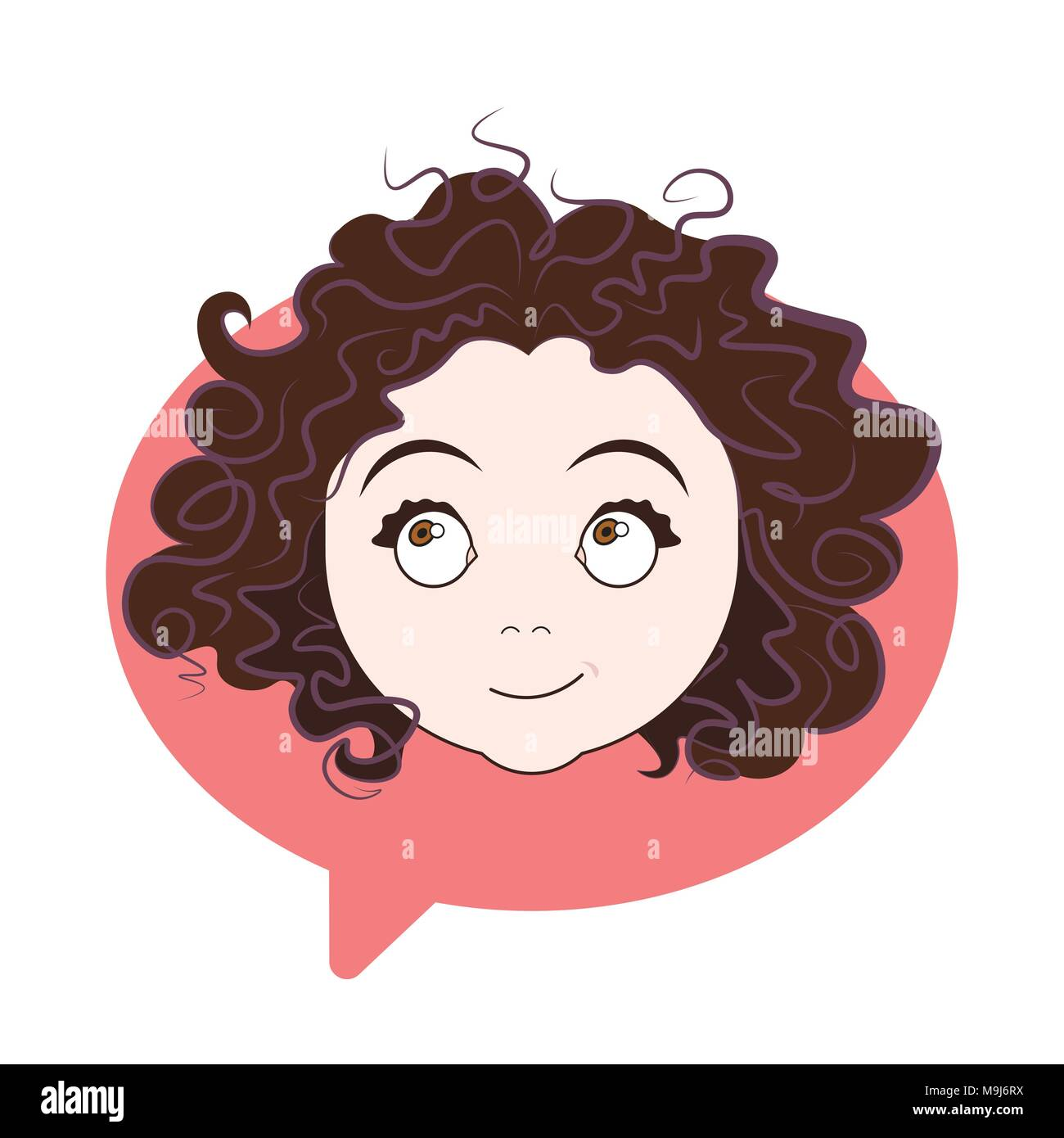 Cute Curly Girl Face Icon Over Chat Bubble Background Woman Profile