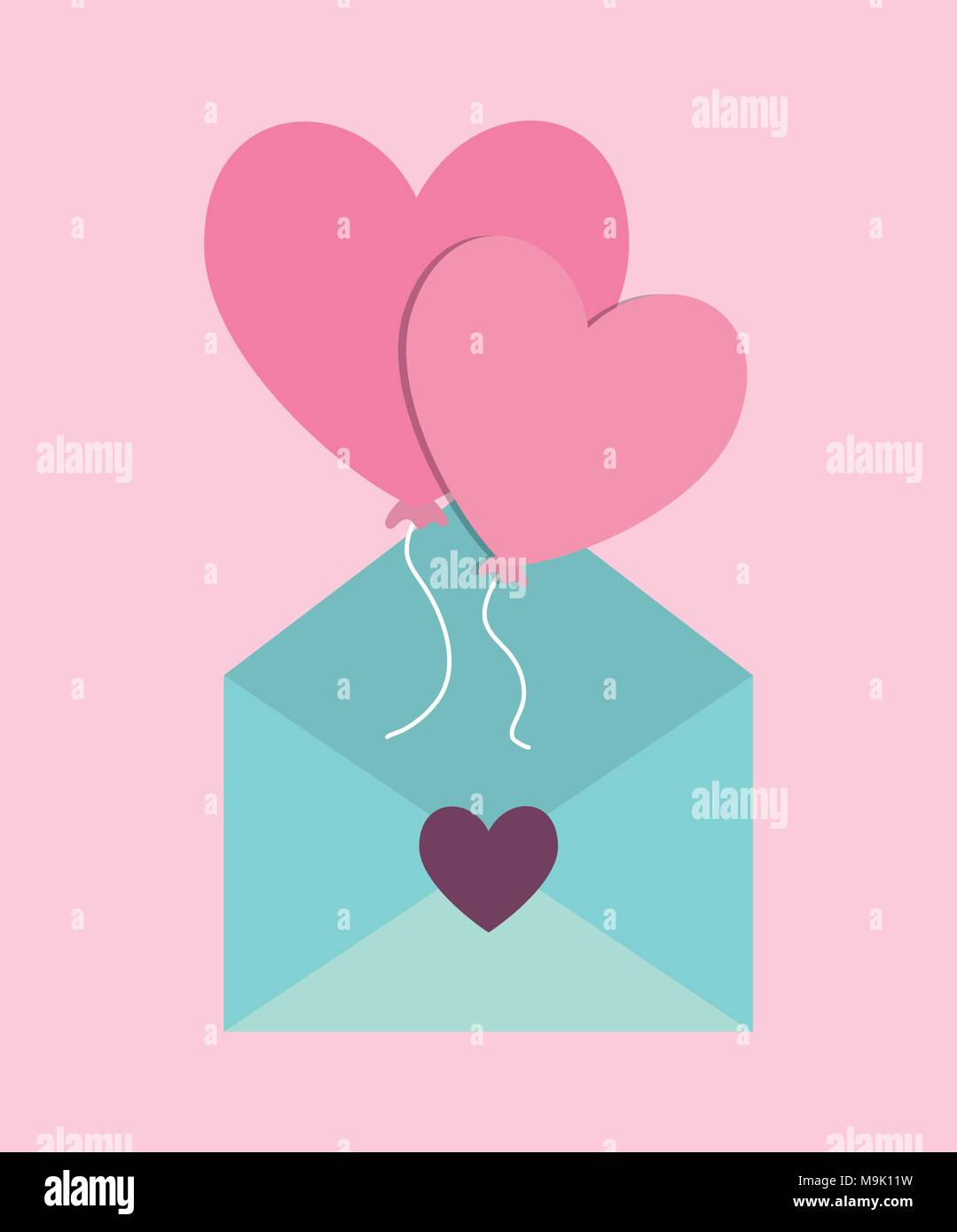 love letter design with envelope and balloons icon over pink background colorful design vector illustration