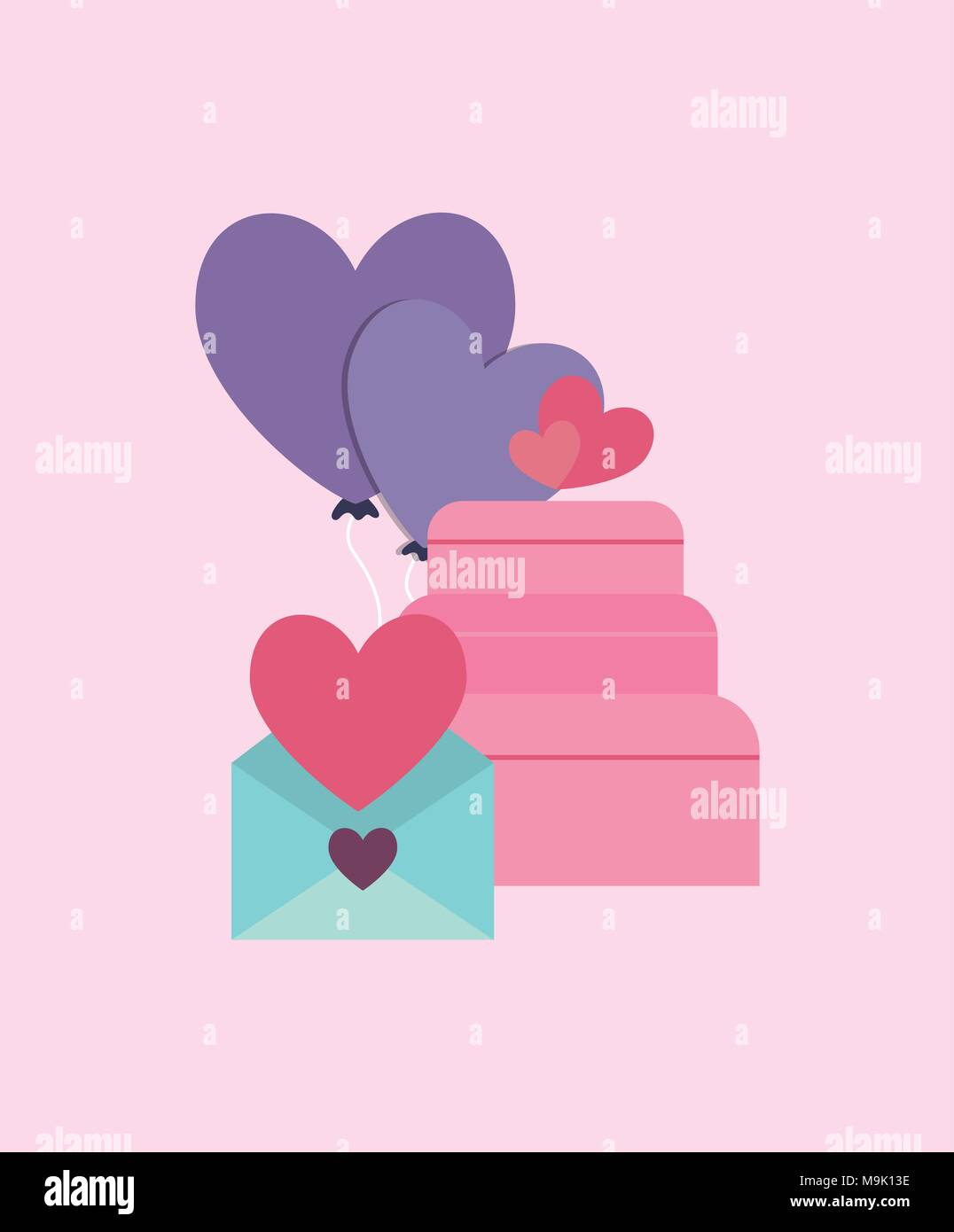 Wedding Cake And Love Letter Over Pink Background Colorful Design