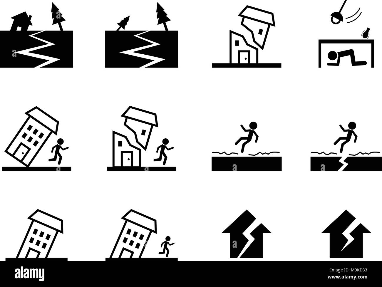 Set Of Earthquake Icon And Symbol In Vector Art Design Stock Vector
