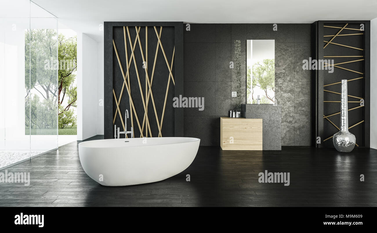 Elegant Modern Monochrome Bathroom Interior In Black And White With A Glass  Wall Onto A Patio And Freestanding Tub. 3d Render