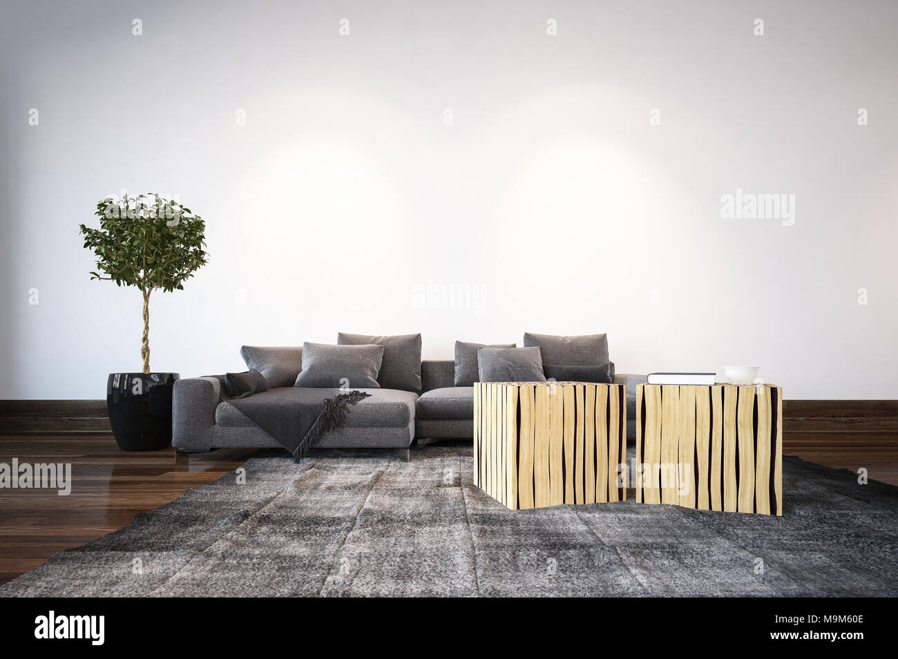 Modern Living Room With Unusual Cubic Tables And A Comfortable Grey Settee  In Front Of A Wall With Topiary Tree In A Pot. 3d Rendering