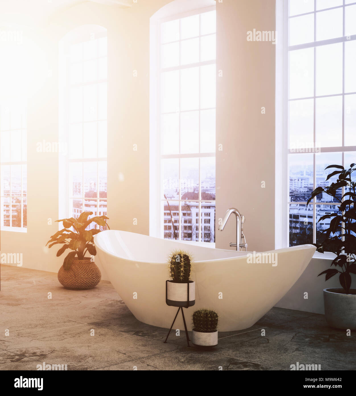 Stylish modern bathroom with potted plants and a freestanding oval ...