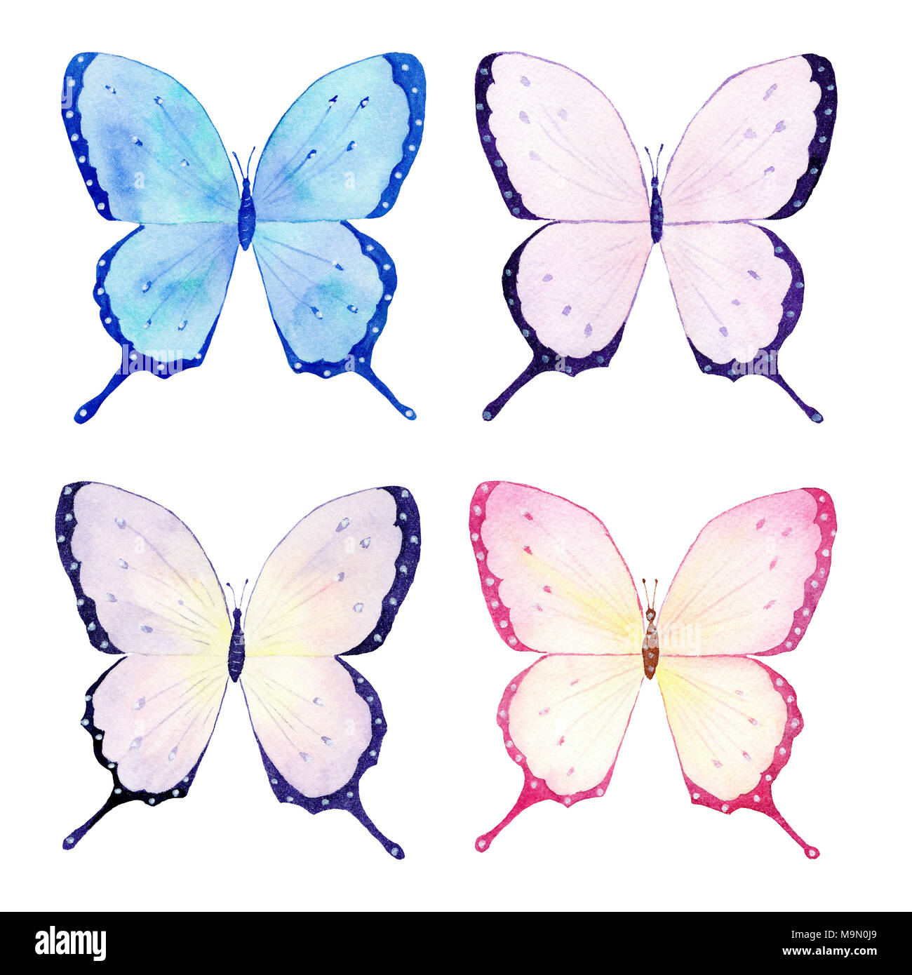 Butterfly watercolor collection, handmade sketch. Perfect design for ...