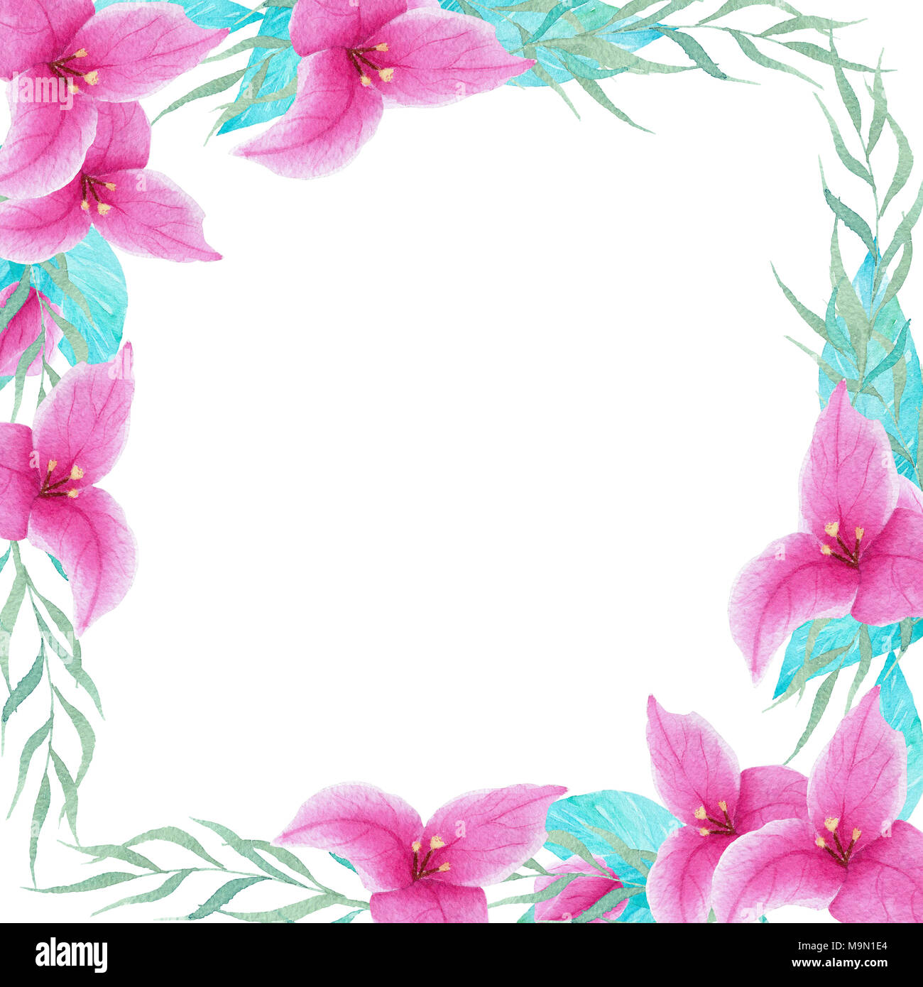Hand Painted Watercolor Bouganvillea Flower Frame Border Perfect