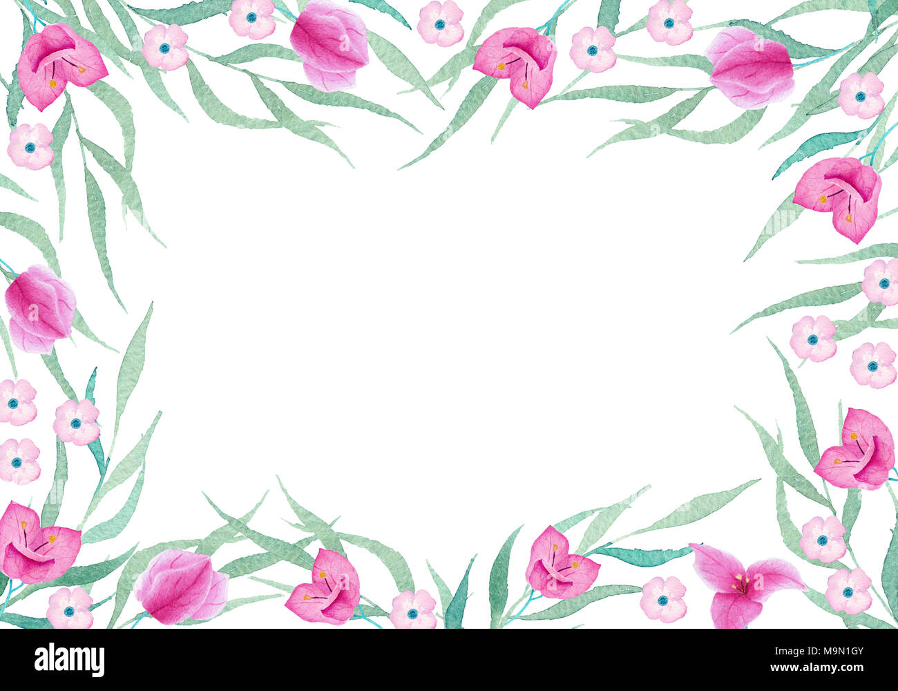 Watercolor hand painted floral frame on white background. Can use it ...