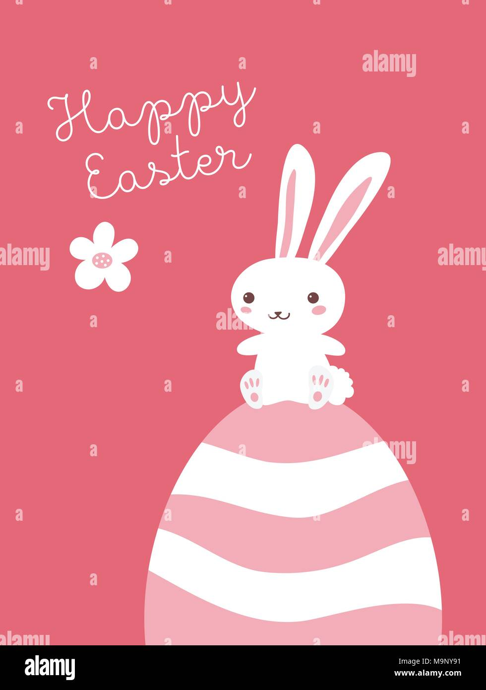 happy easter vector card template with a bunny character stock