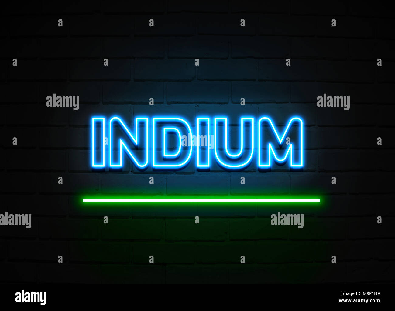 Indium stock photos indium stock images alamy indium neon sign glowing neon sign on brickwall wall 3d rendered royalty free stock biocorpaavc Images