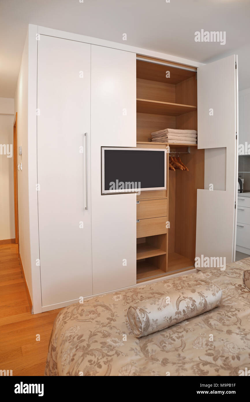 Big Wardrobe Closet With Built In Lcd TV