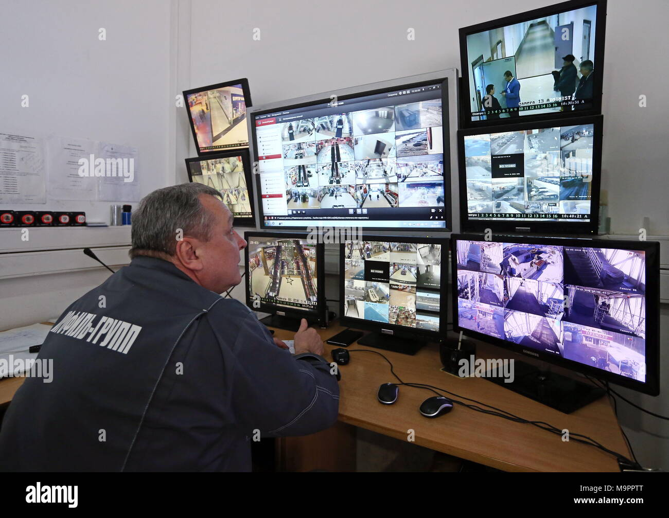 RYAZAN RUSSIA  MARCH 28 2018 A Security Guard In A Video Surveillance Room Of The Premyer Shooping Mall Russiau0027s Prosecutor Generalu0027s Office Has