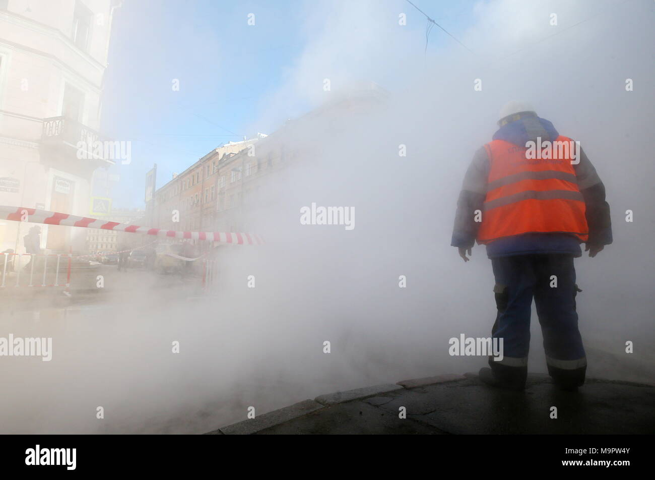 St petersburg russia 28th mar 2018 st petersburg russia march st petersburg russia march 28 2018 steam rises from water at a temperature of 110 c 230 f flooding st petersburgs stolyarny lane as a publicscrutiny Gallery