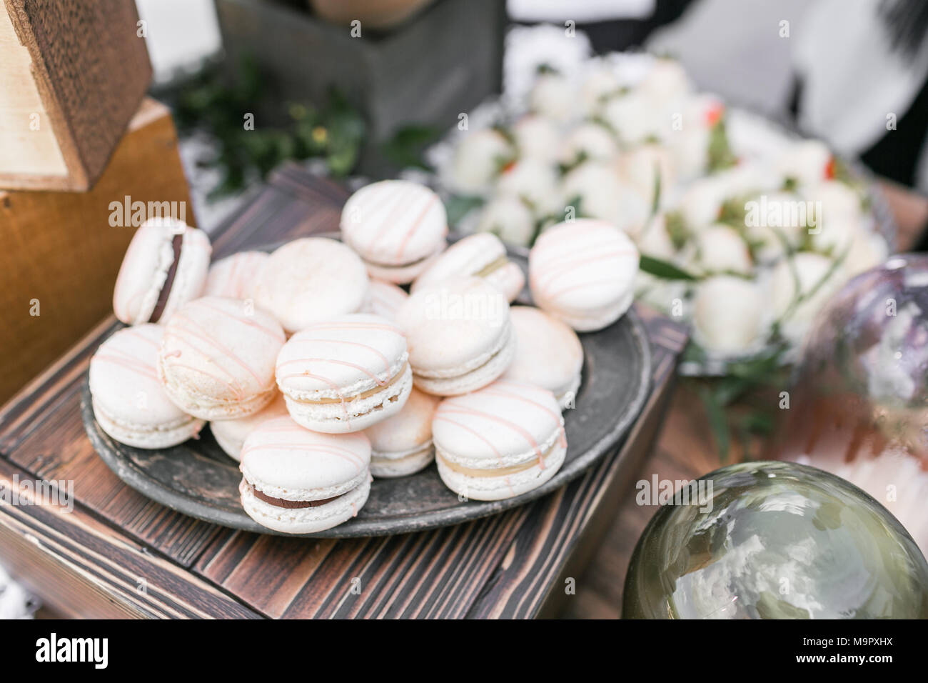 Pastel Pink Strawberry Macarons French Delicate Dessert For