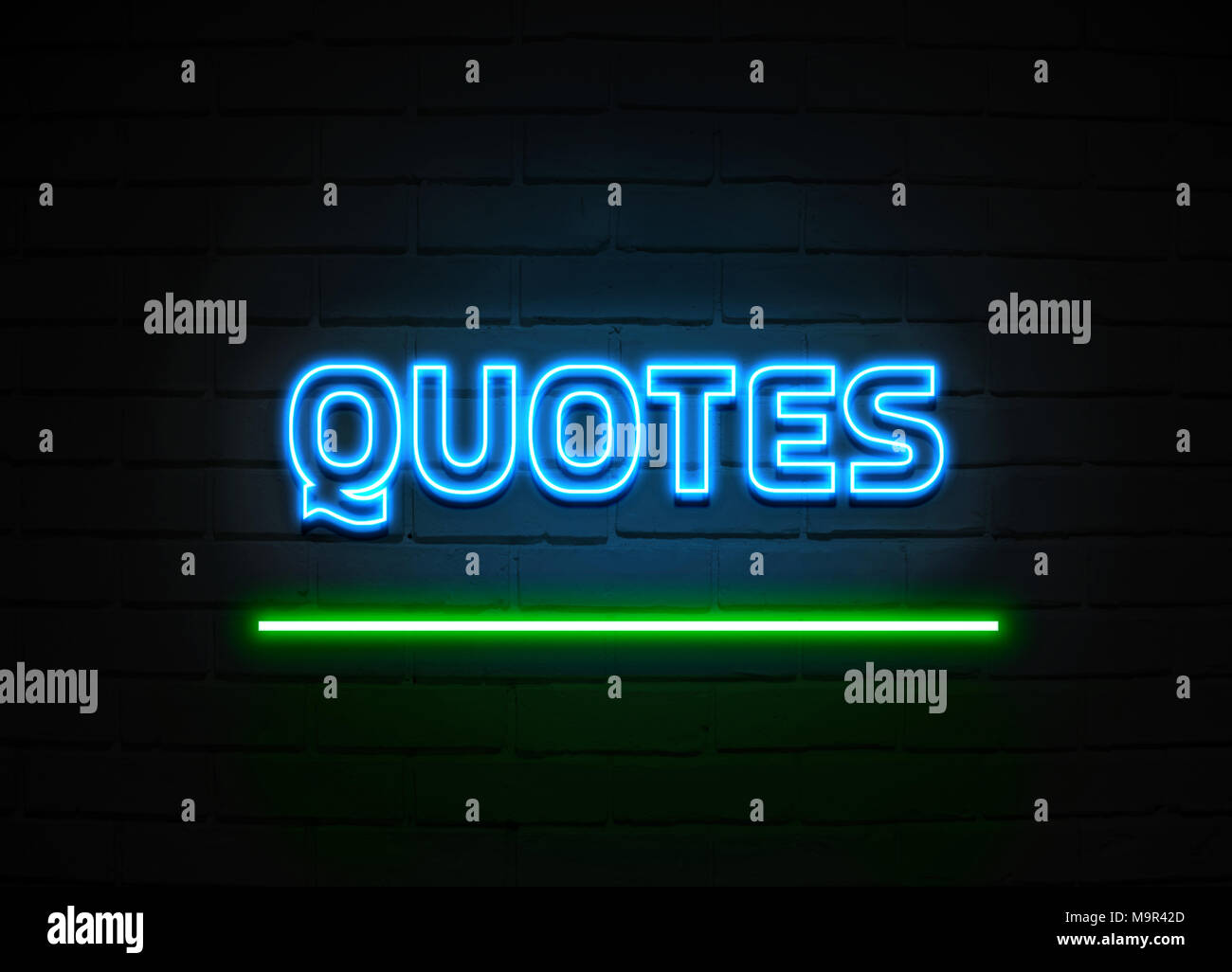 Free Stock Quotes | Quotes Neon Sign Glowing Neon Sign On Brickwall Wall 3d Rendered