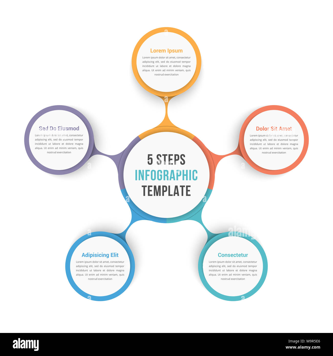 circle diagram infographic template with five steps or options