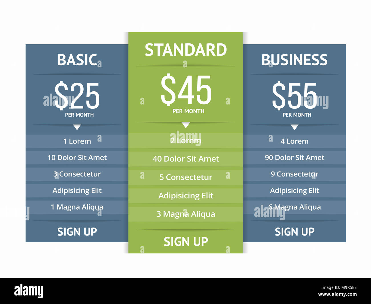 pricing table template with three plans for websites vector eps10