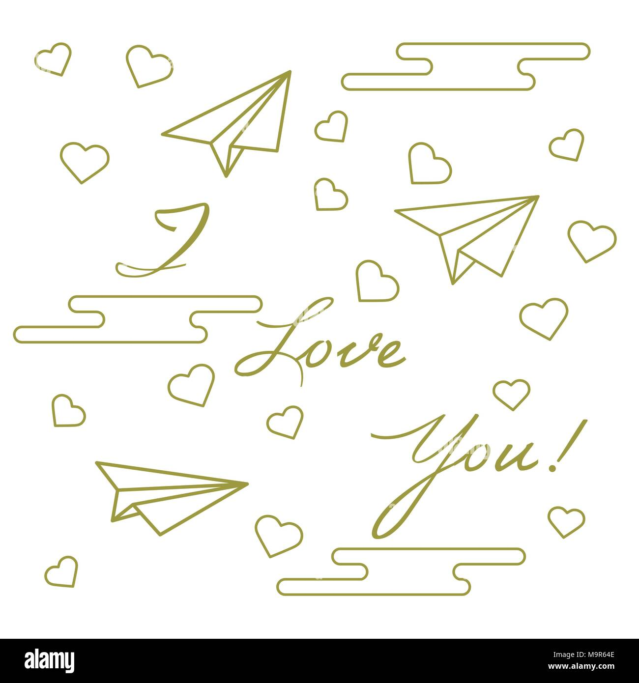 Paper Airplane Hearts Clouds And Inscription I Love Youtemplate