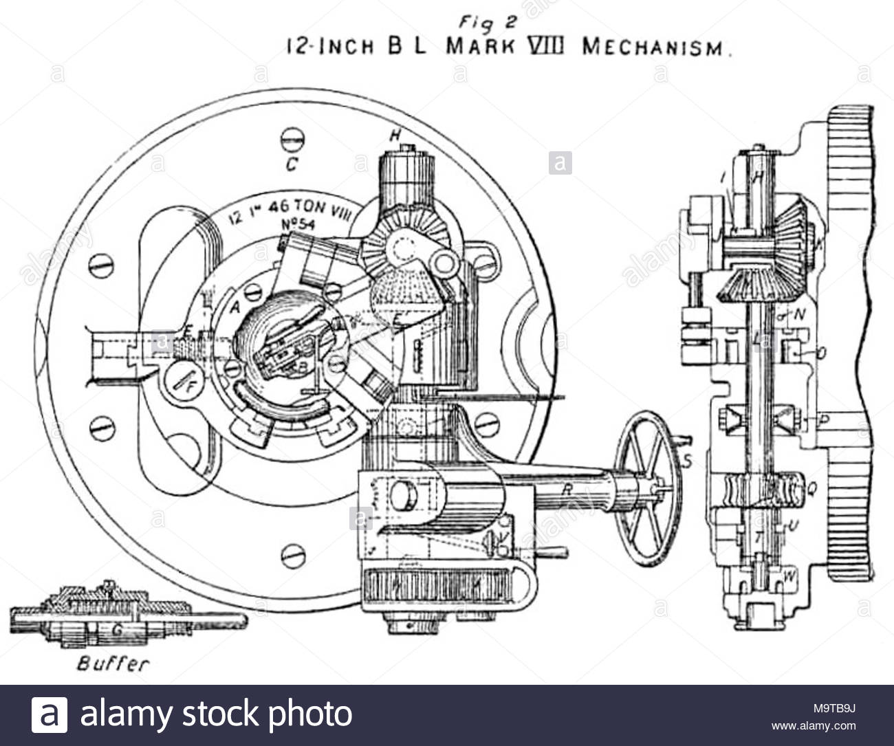 Diagram showing breech mechanism of british bl 12 inch mk viii naval diagram showing breech mechanism of british bl 12 inch mk viii naval gun a bronze end plate with handle at bottom for withdrawing ccuart Images