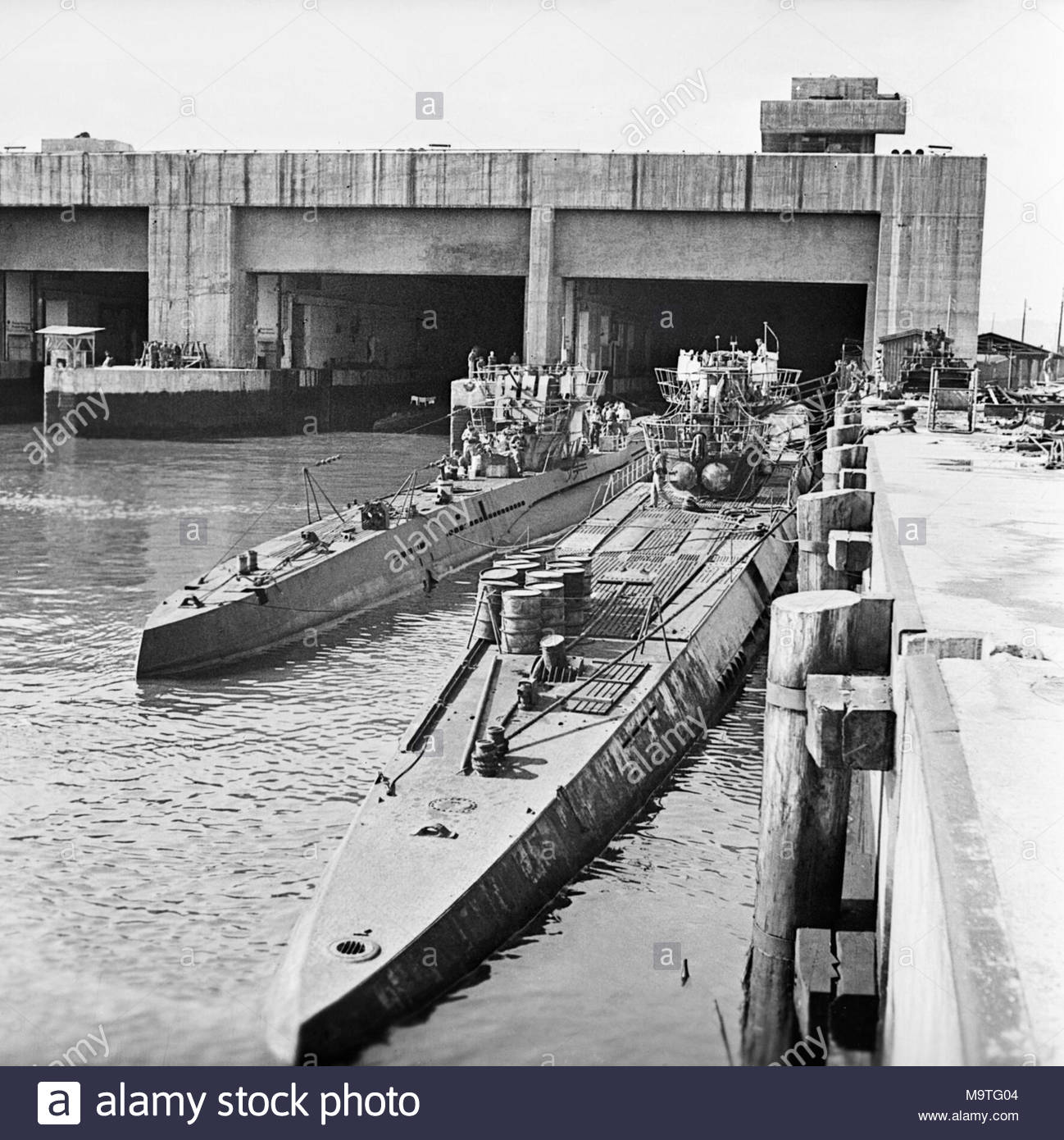 captured german u boats outside their pen at trondheim in norway 19