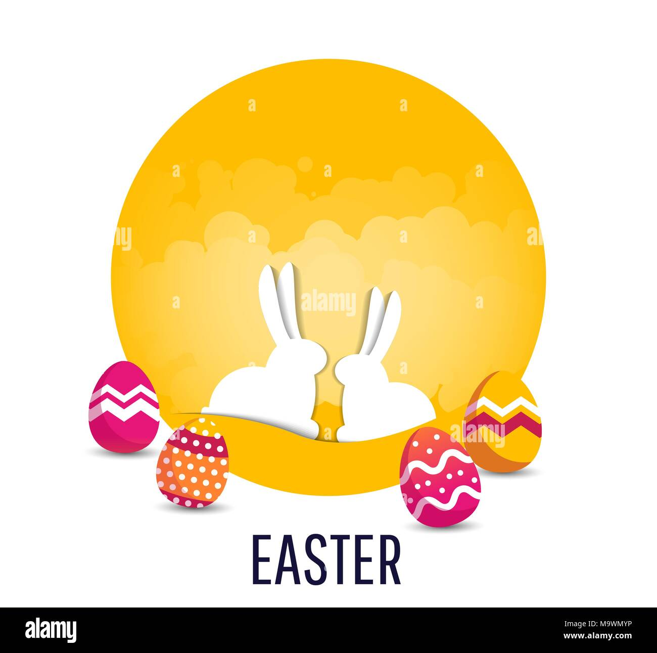 easter banner background template with modern colorful eggs and