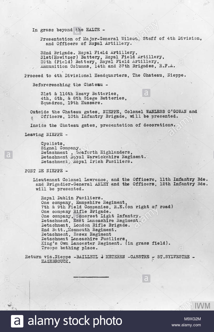 itinerary for the visit of h m the king to the ii corps itinerary