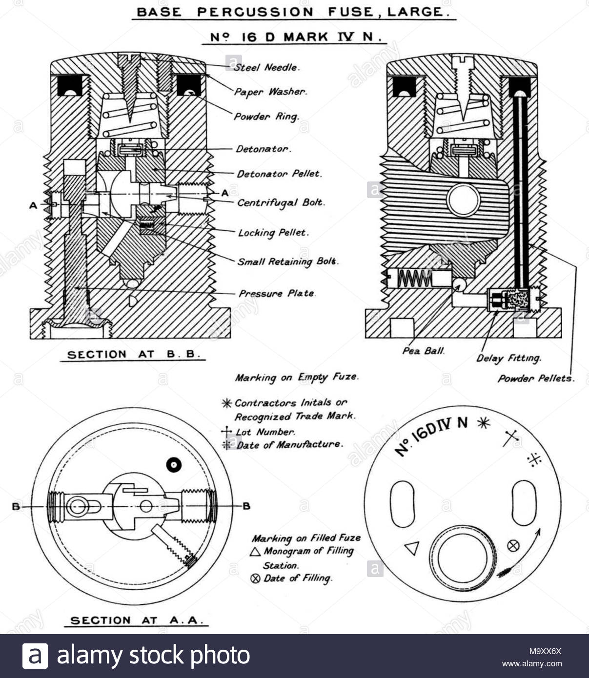 Armour piercing stock photos armour piercing stock images alamy diagram of british no 16 d mk iv n base percussion fuze large pooptronica Choice Image