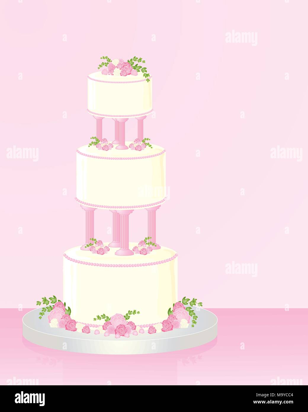 an illustration of a decorative three tier wedding cake with roses ...