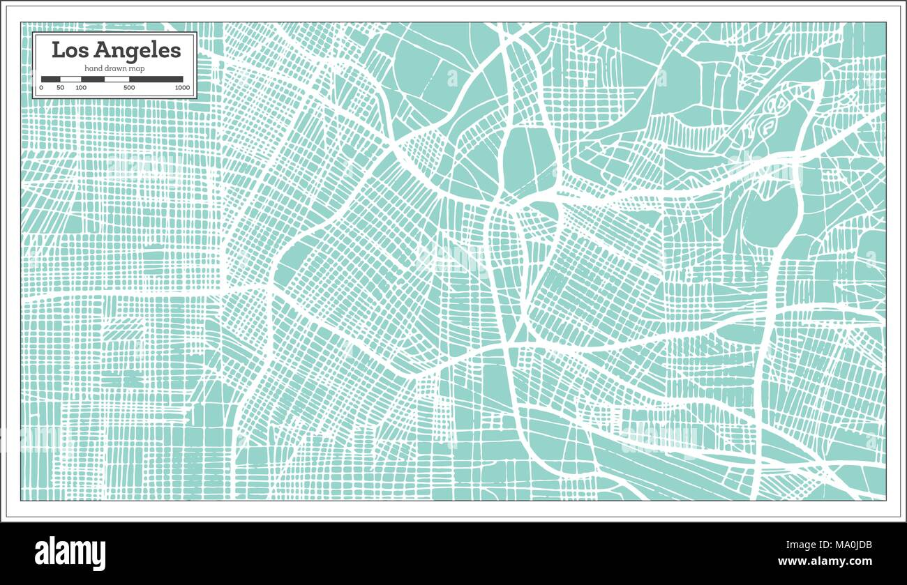 Los Angeles California USA City Map in Retro Style. Outline Map ...