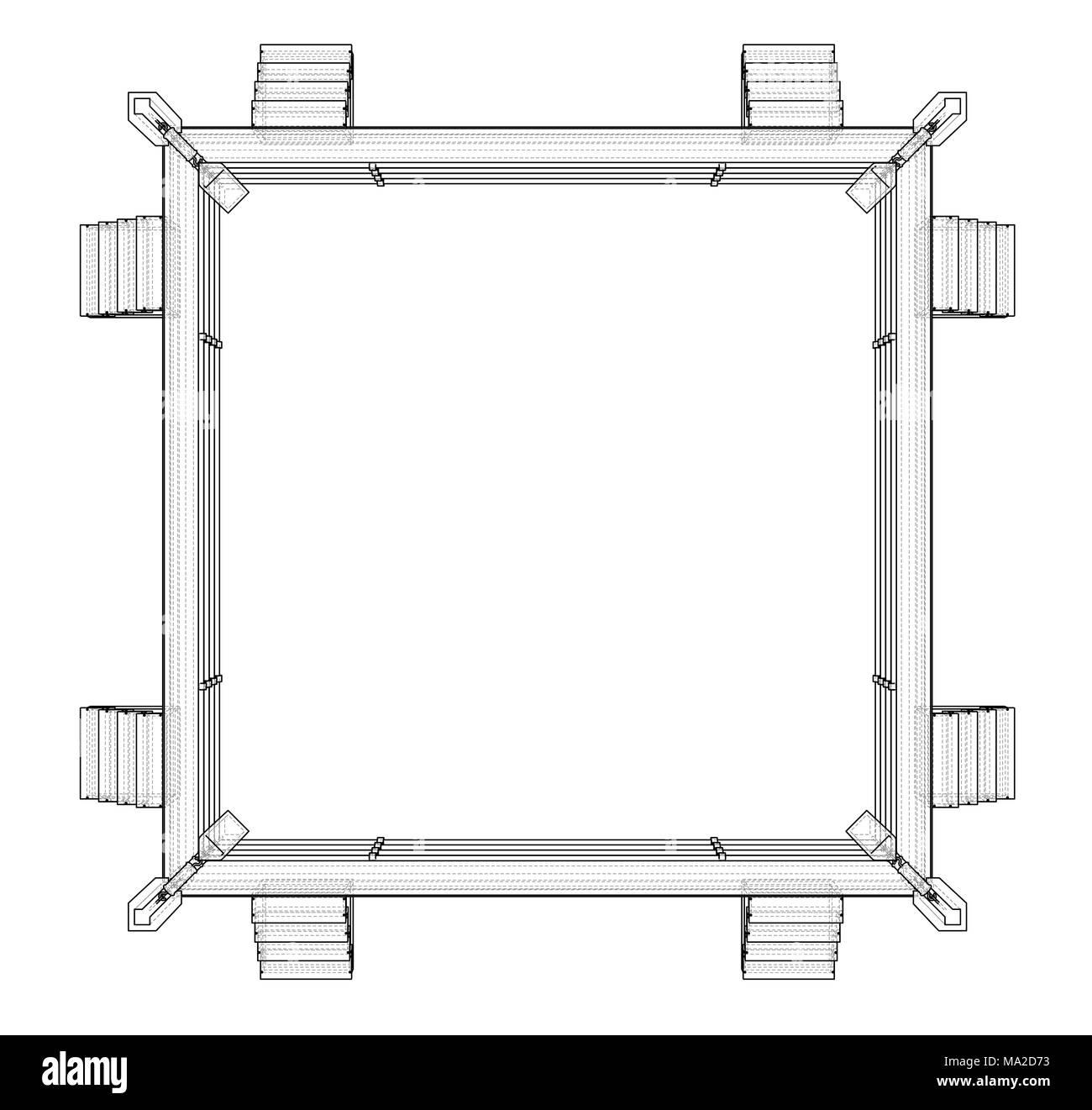 Boxing ring on white background 3d illustration wire frame style boxing ring on white background 3d illustration wire frame style ccuart Images