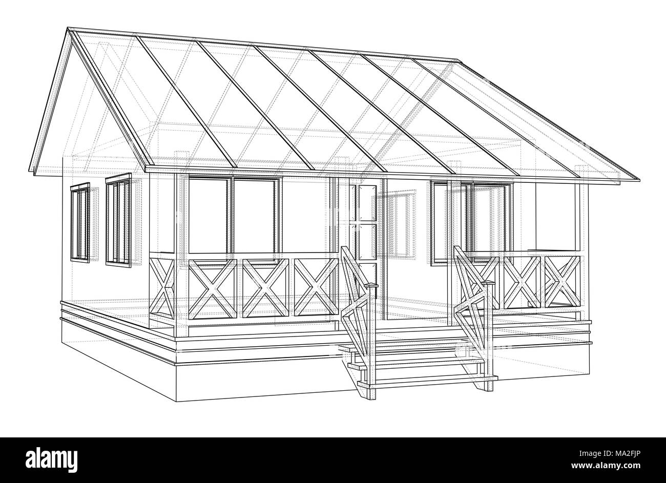Private house sketch. 3d illustration. Wire-frame style Stock Photo ...