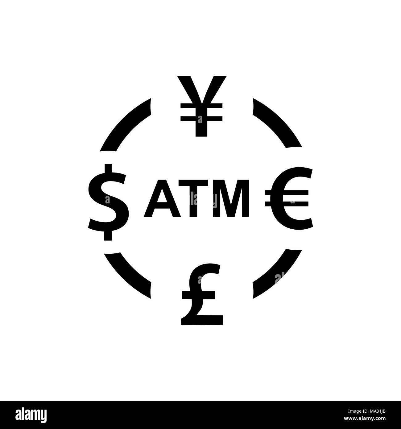 Currency Exchange Icon Dollar Yen Euro Pound Atm Symbols Signs