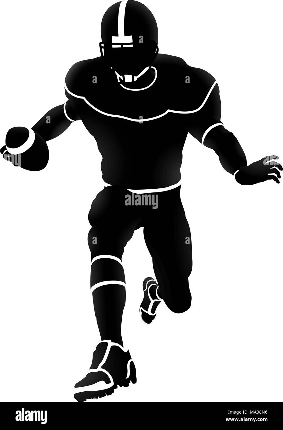 American Football Player Silhouette Stock Vector Art Illustration