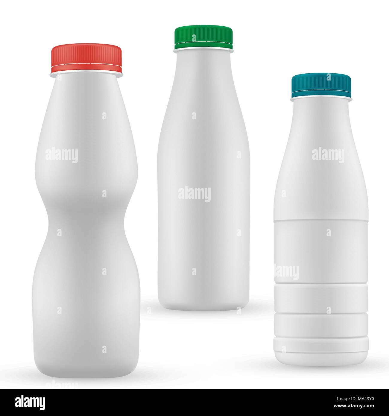 Blank Milk Or Yoghurt White Bottle With Screw Cap Vector Template