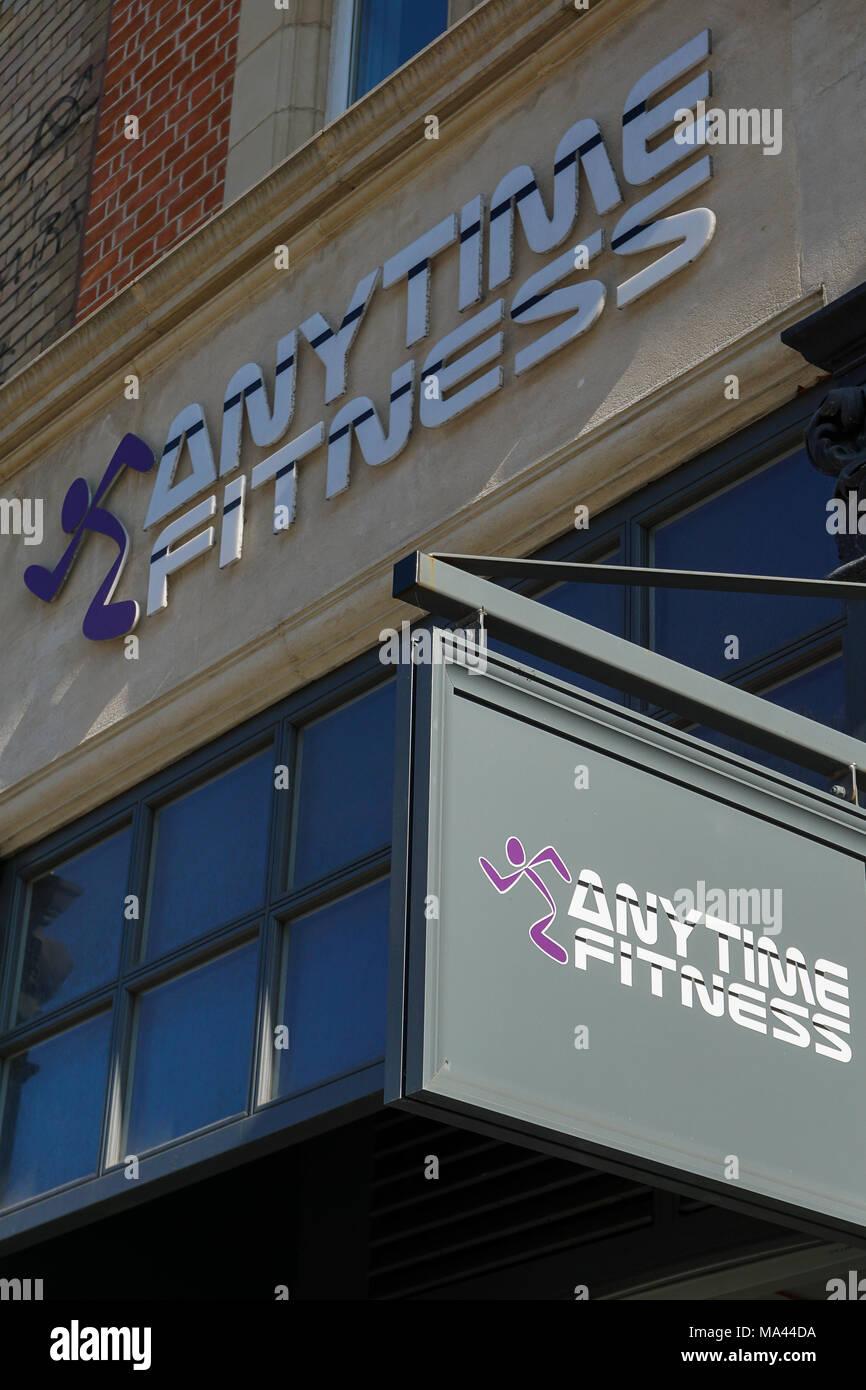 Fitness logo stock photos fitness logo stock images alamy anytime fitness logo over the entrance of a gym in southwark london uk buycottarizona Choice Image