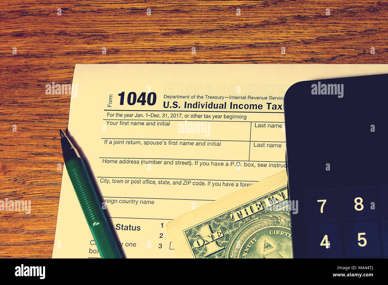 Tax Day The Tax Form 1040 Green Pen Black Smartphone With
