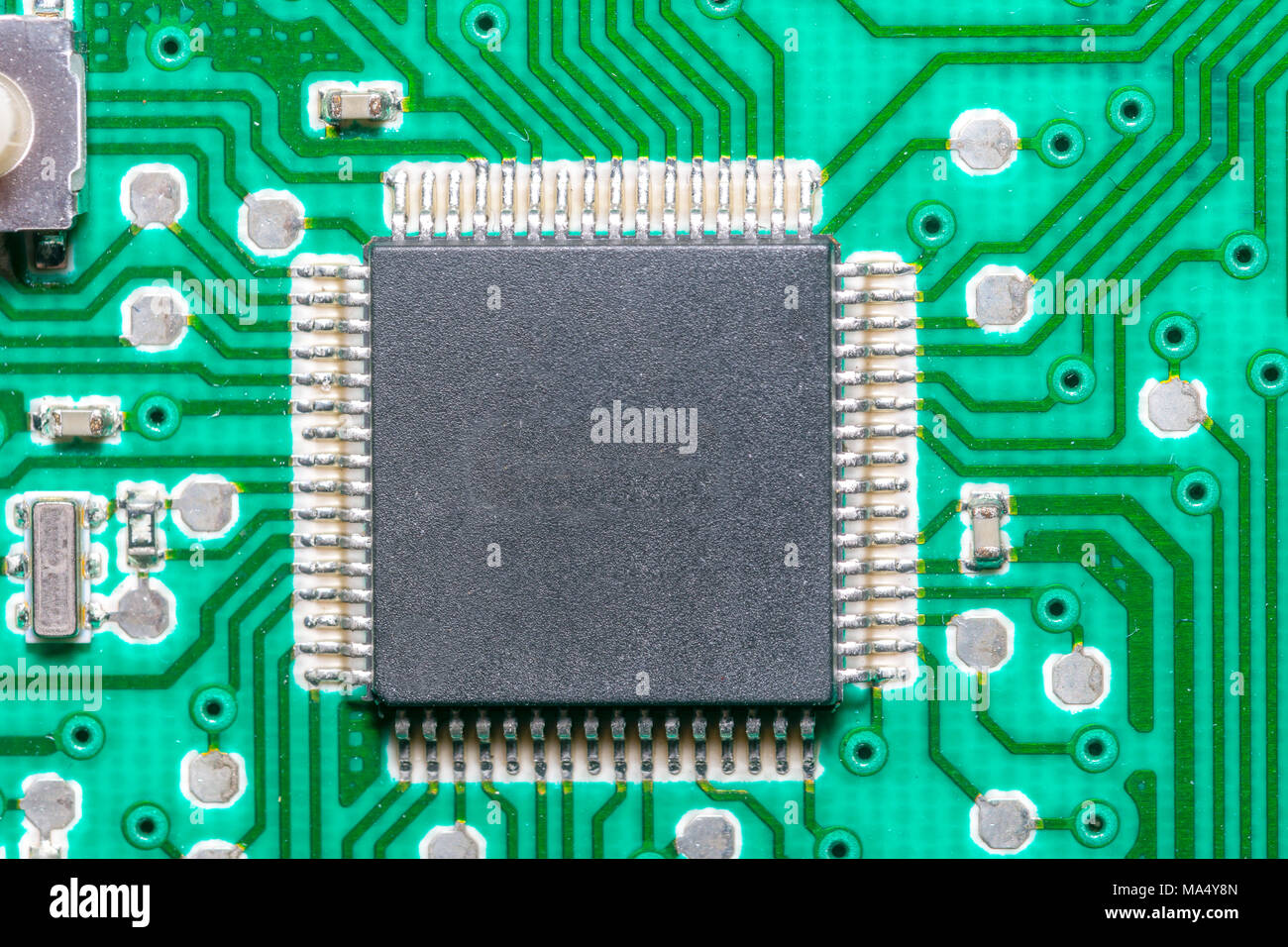 Microchip Close Up High Tech Electronic Printed Ciurcuit Board Stockfoto Circuit Pcb Used In Industrial Technology Concept