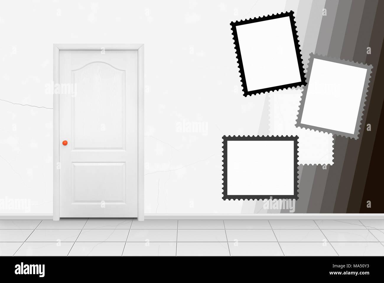 Home interior - White inside door in the orange handle in front of ...
