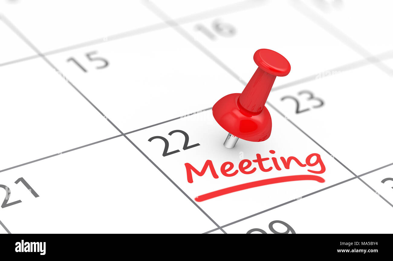 business meeting reminder concept with a red thumbtack and meeting