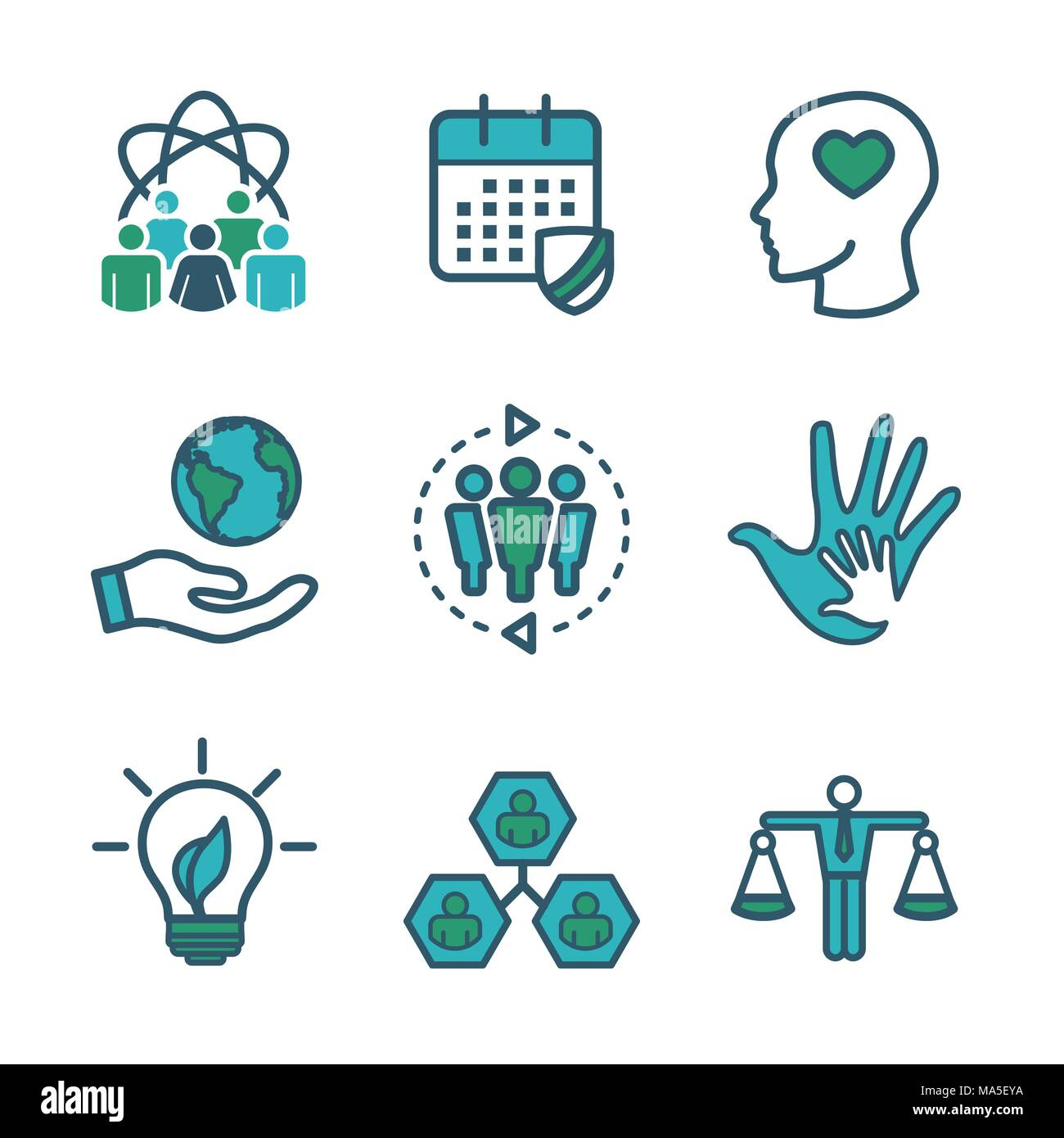 Initiatives cut out stock images pictures alamy social responsibility outline icon set with honesty integrity collaboration etc stock biocorpaavc Image collections