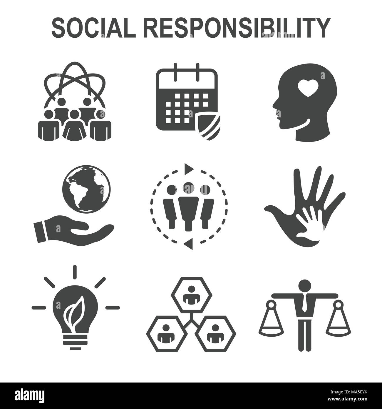 Integrity cut out stock images pictures alamy social responsibility solid icon set with honesty integrity collaboration etc stock image biocorpaavc Image collections