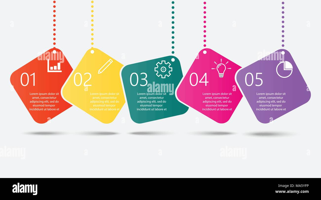 timeline infographics design template with 5 options process