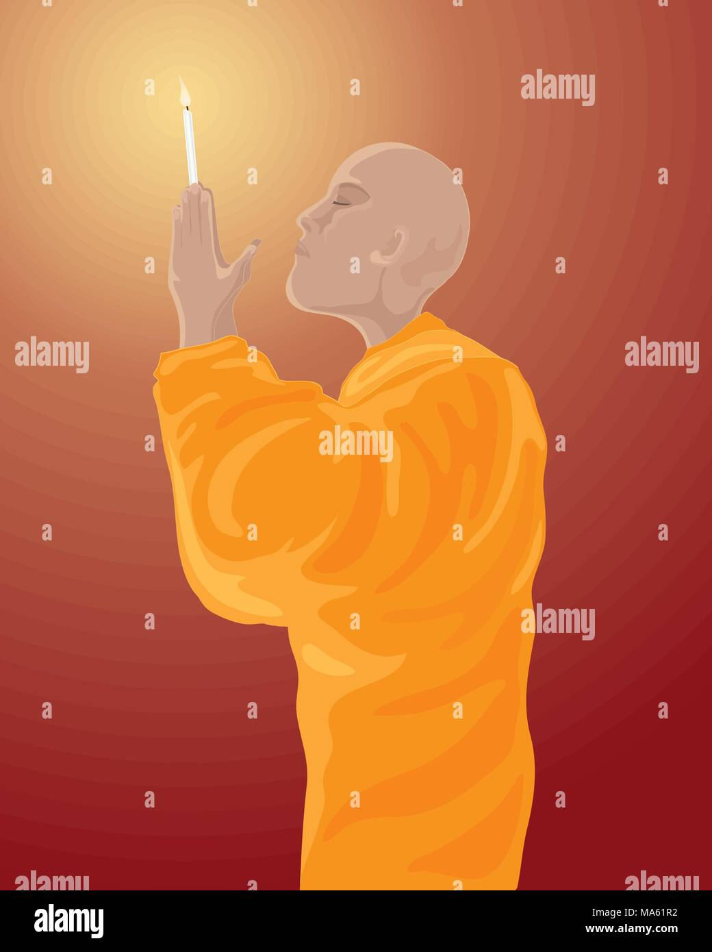 A Vector Illustration In Eps 10 Format Of Buddhist Monk Orange Robes Meditating With Lighted Candle On Dark Red Background