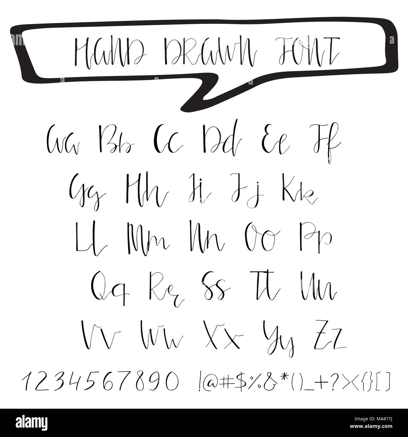 Handwritten calligraphy ink font. Unique alphabet. Isolated letters ...