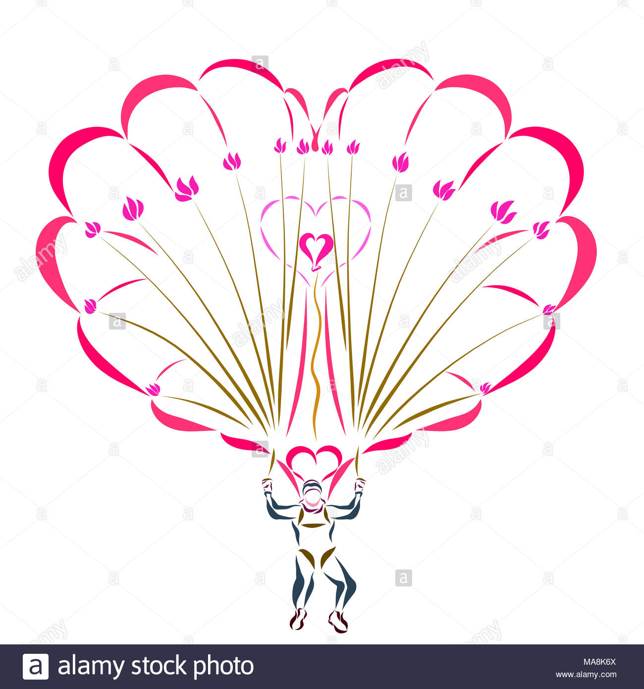 Heart flower logo stock photos heart flower logo stock images man on a parachute in the shape of heart with flowers stock image pooptronica Images